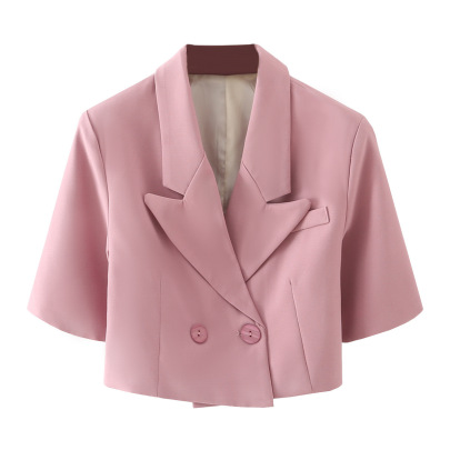 Double-breasted Short Suit Jacket  NSAM49766