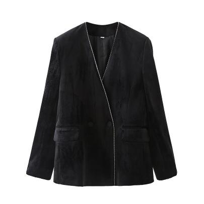 Trim V-neck Casual Velvet Suit Jacket NSAM49763