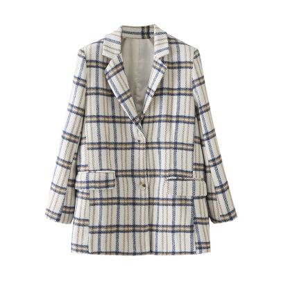 Retro Plaid Striped Woolen Blazer NSAM49747