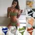 sexy solid color sling triangle bikini swimsuit  NSLUT53904