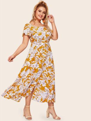 New Square Collar Split Large Size Dress NSCX54317