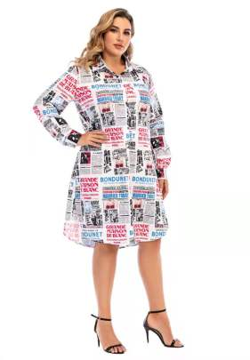 Plus Size Spring And Summer Loose Long-sleeved Mid-length Skirt NSCX54318