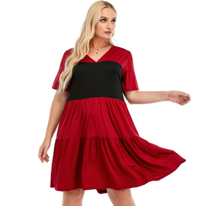 New Style V-neck Short-sleeved Stitching A-line Skirt  NSCX54320
