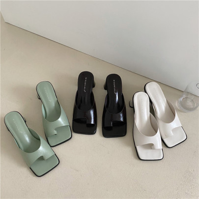 Fashion Solid Color Leather Sqaure Toe Heeled Sandals NSHU54452