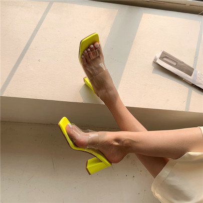 Fashion Solid Color Clear Square Toe Heeled Sandals NSHU54455