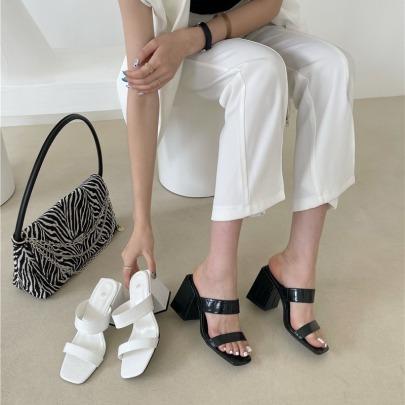 Fashion Crocodile Embossing Solid Color Sandals NSHU54460
