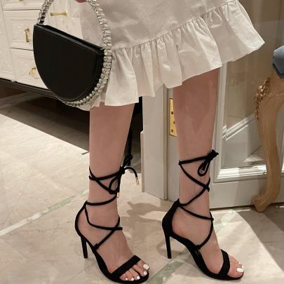 Fashion Leg Tie Solid Color Heels  NSHU54462
