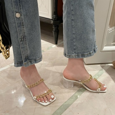 Trend Chain Decor Clear Heeled Sandals  NSHU54477