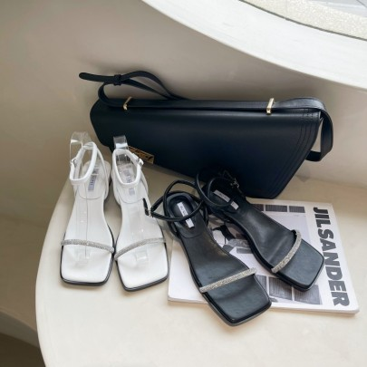 Rhinestone Decor Square Toe Ankle Strap Heeled Sandals NSHU54486