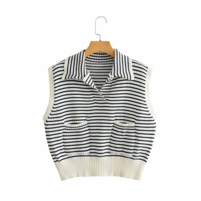Fashion Striped Knitted Vest NSAM47663