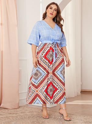 Summer New Plus Size V-neck Short-sleeved Dress NSCX48189
