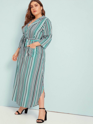 New Plus Size Long-sleeved Striped Dress NSCX48193