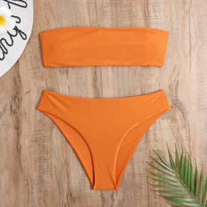 Plain Tube Bra & Thong Swimsuit Set NSHL48203