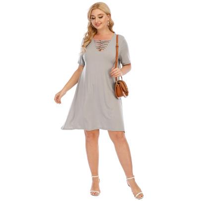 Plus Size Cut Out Plain Dress NSOY48468