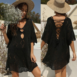 Backless Strappy Hollow Woven Beach Dress NSOY48470
