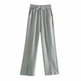 Soft Texture Split Straight Leg Pants  NSAM48557