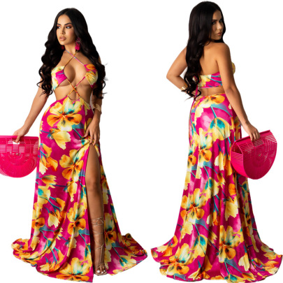 Spring New Leaf Print Bohemian Sling Strapless Top NSYMA55679