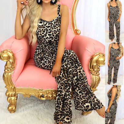 Summer New Leopard Print Suspenders Casual Loose Jumpsuit NSZH55700