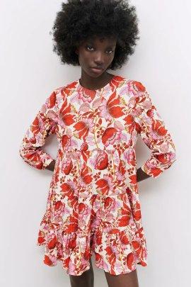 Wholesale Spring Flower Printed Long Sleeve Mini Dress NSAM55753