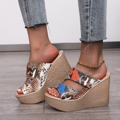 Fashion Snake Printed Hollow Open Toe Wedges NSPE55979