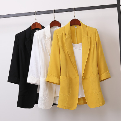 Casual Cotton Loose Mid-length Suit Jacket NSFYF56268