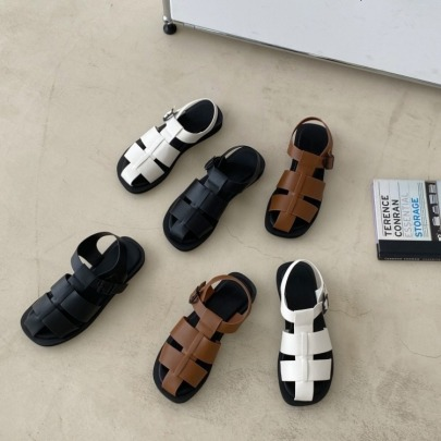 Fashion Cross Leather Flat Sandals NSHU56607