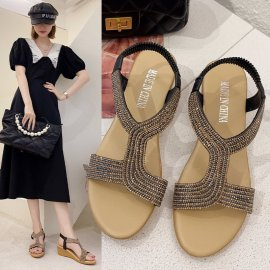 Summer New Flat Bottom Casual Rhinestone Slope Shoes NSZSC56638
