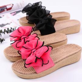 High-heeled Wedges Bows Summer Linen Sandals NSBXSL56689