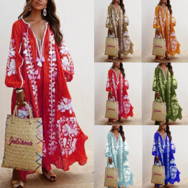 Autumn Fashion V-neck Sexy Long Sleeve Printed Dress NSSUO56798