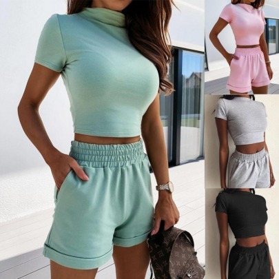 New Style Summer Solid Color Tight Sexy Fashion Casual Set NSYF56865