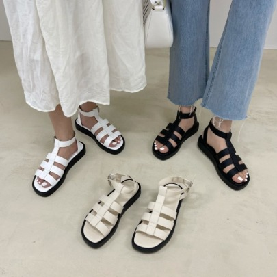 Fashion Solid Color Cut Out Flat Sandals NSHU57334