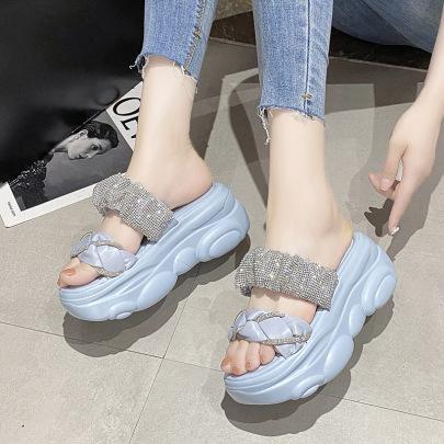 Fashion Rhinestone Decor Thick-soled Sandals NSZSC57543