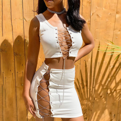 Spring And Summer New Sexy Hollow Chain Straps Umbilical Vest Set NSDLS57696