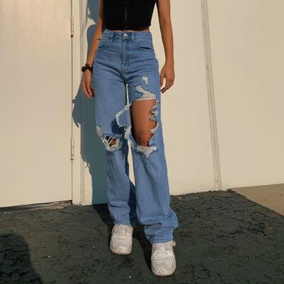 Straight High Waist Asymmetrical Ripped Jeans Trousers NSRUI57727