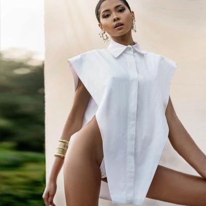 Fashion Temperament Show Shoulder Loose Shirt Vest NSFLY57768