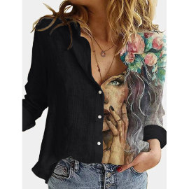 Fashion Printed Splicing Lapel Single Breasted Long-sleeved Loose Shirt  NSJIM55018