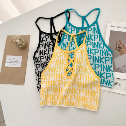 Front Cross Letter Sexy Beautiful Back Knitted Camisole NSYAY58458
