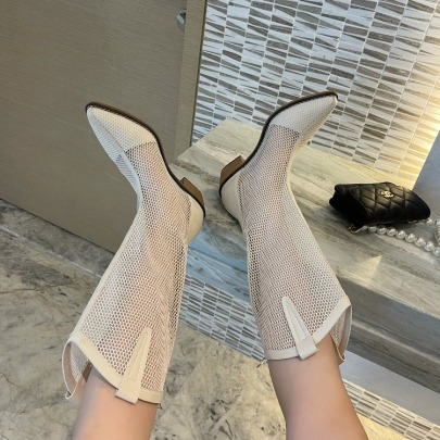 Hollow Mesh Thick-heeled Boots NSHU58492