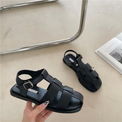 Retro Hollow Buckle Flat Sandals NSHU58520