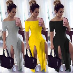 One-shoulder Loose Slit Long Dress  NSWNY58563