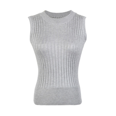 Solid Color Knitted Sleeveless Top NSJR51571