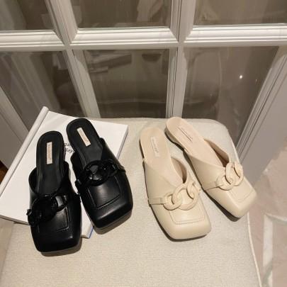 New Summer Wear Square Head Flat Sandals NSHU59065