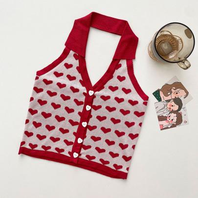 Vintage Love Print Halter Knit Camisole NSYAY59145
