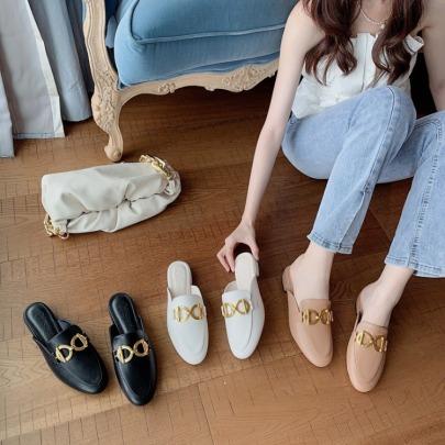 Fashion Golden Metal Decor Leather Flats NSHU59219