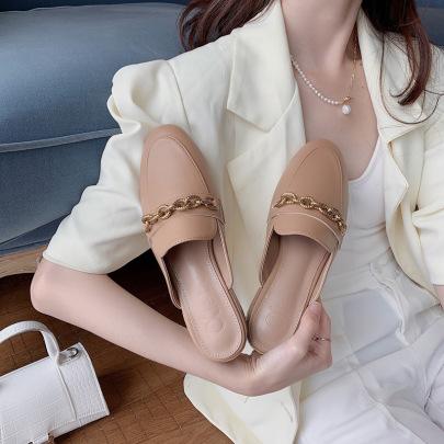 Fashion Flat-heeled Chain Mules NSHU59223