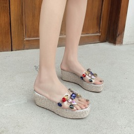Summer Thick-soled Hemp Rope Open-toed Beach Sandals NSHU59234