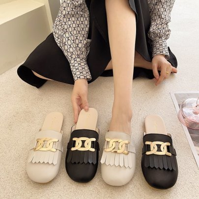 Fashion Golden Metal Decor Cover Toe Flat Sandals NSPE59279