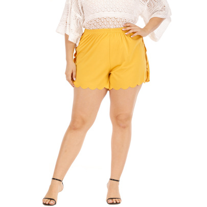 Casual Pants Stitching Solid Color Wave Edge Loose Shorts NSOY59401