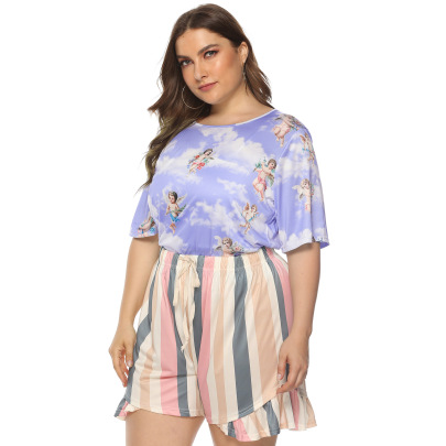Plus Size Printing Home Casual T-shirt Tops NSOY59404