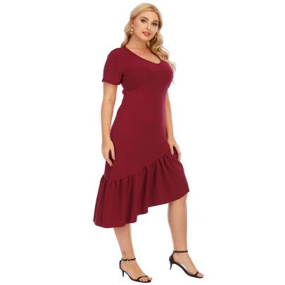 Ruffled Irregular V-neck Short-sleeved Evening Dress NSOY59409